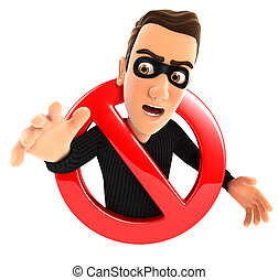 3d thief surrounded by a forbidden sign, isolated white...