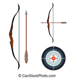 Bow, arrow and target. Illustration, elements for design.