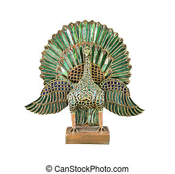 Antique statue peacock isolated - Antique stutue peacock...