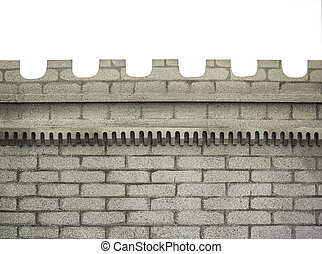 Castle wall isolated on white - Part of castle wall isolated...