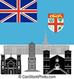 Fiji - National flag of Fiji and architectural attractions....