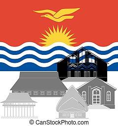 Kiribati - National flag of Kiribati and architectural...