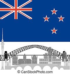 New Zealand - National flag of New Zealand and architectural...
