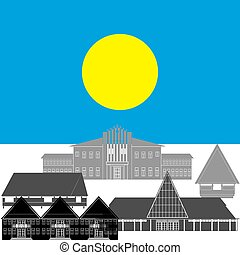 Palau - National flag of Palau and architectural...