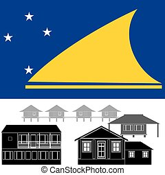 Tokelau - National flag of Tokelau and architectural...