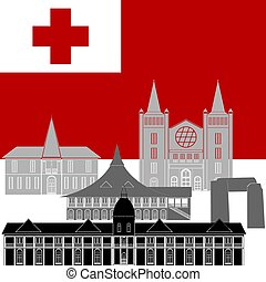Tonga - National flag of Tonga and architectural...