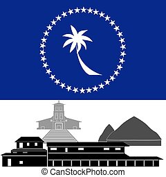 Truk - National flag of Truk and architectural attractions...