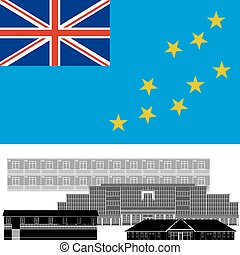 Tuvalu - National flag of Tuvalu and architectural...