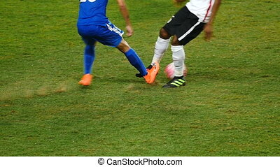 Footballers' action - Professional football game slow...