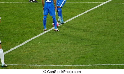 kick off - Professional football game slow motion, body...