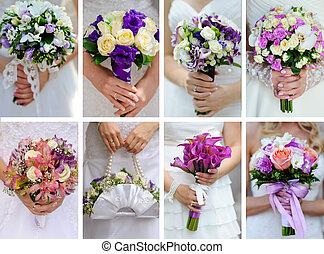 相片, 拼貼藝術, 手, 新娘, 花束, 婚禮