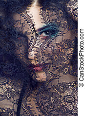portrait of beauty young woman through lace close up mistery...