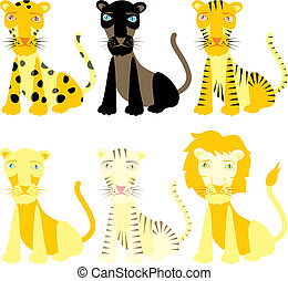 vector illustration felines - fully editable vector...
