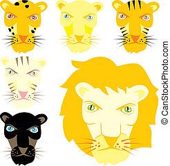 vector illustration feline heads - fully editable vector...