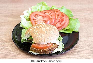 Bite of cheeseburger