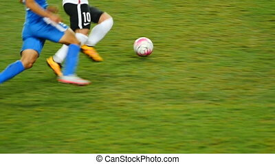 Professional football game slow motion, body part.It is a...