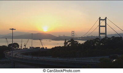 Tsing Ma Bridge is a bridge in Hong - Time lapse of Tsing Ma...