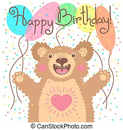 Cute happy birthday card with funny bear.
