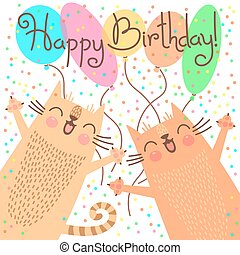 Cute happy birthday card with funny kittens.
