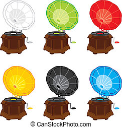 vector illustration of colored gramophones