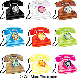 vector illustration of colored isolated retro phones