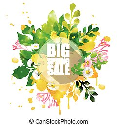 Spring Sale Banner with shape flora