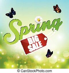 Spring background with sticker