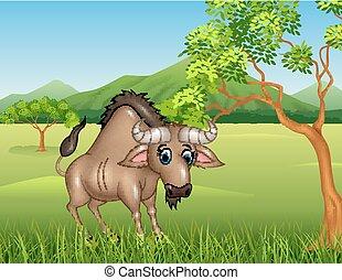 Cartoon wildebeest mascot - Vector illustration of Cartoon...