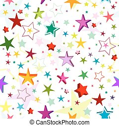 Seamless pattern of a maze of colorful stars on a white...