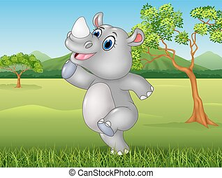 Cartoon funny rhino posing