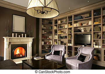 living room with big library and fireplace