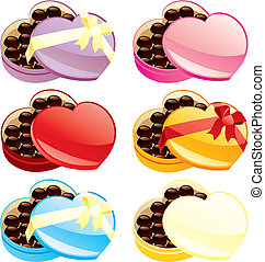 vector illustration of gift chocolate boxes in heart shape -...