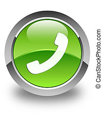 Phone icon glossy green round button 2