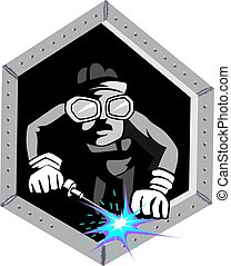 comic character with welding site - Illustration of a comic...