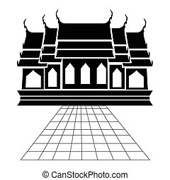 Pagoda and temple silhouette black icon
