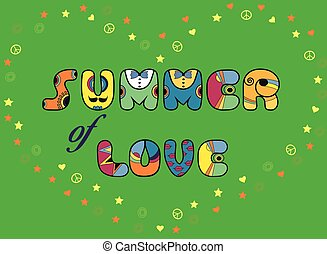 Inscription Summer of Love. Colored Letters. Vector...