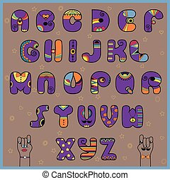 Hipster Alphabet. Funny purple and orange letters. Vector...