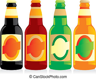 vector illustration of isolated beer bottles set