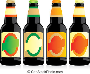 vector illustration of isolated beer bottles set - fully...