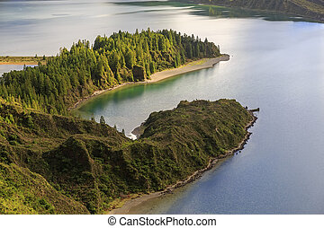Peninsula on Lagoa do Fogo, San Miguel island of Azores
