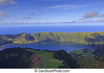 Lagoa Azul on San Miguel island of Azores, panorama