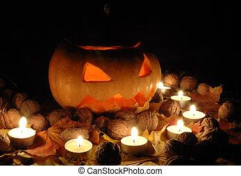 Halloween pumpkin still life