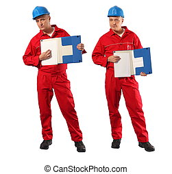 worker and blank page - inspector in red uniform and blue...