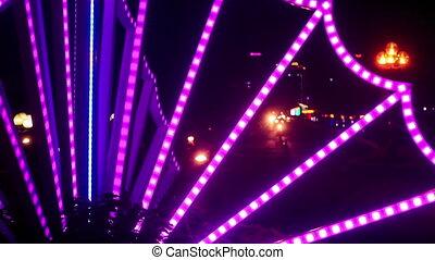 Scooter Car Night Traffic along City Street in Vietnam -...