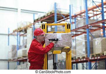 trabajador, barra, código, lector