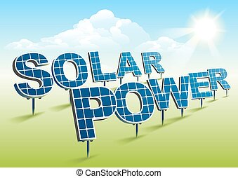 Solar power. Solar panels on green field. Illustration in...