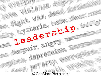 Blured text zoom effect with focus on leadership