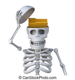 3d Skeleton has a folder in his head - 3d render of a...