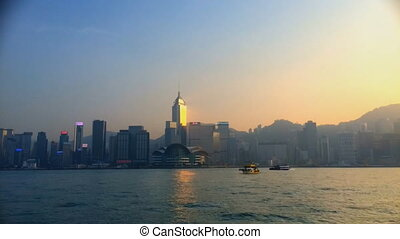 Hong Kong cityscape and harbor from Hong Kong Island (quick...