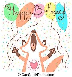 Cute happy birthday card with funny fox.